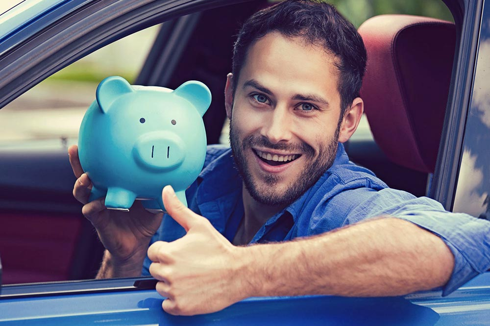 Man saving money on car