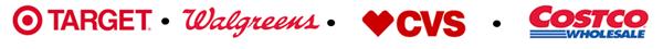Target, Walgreens, CVS, Costco logos