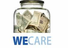 WE Care jar filled with dollar bills