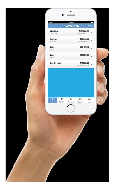 Hand holding smartphone showing WEOKIE app
