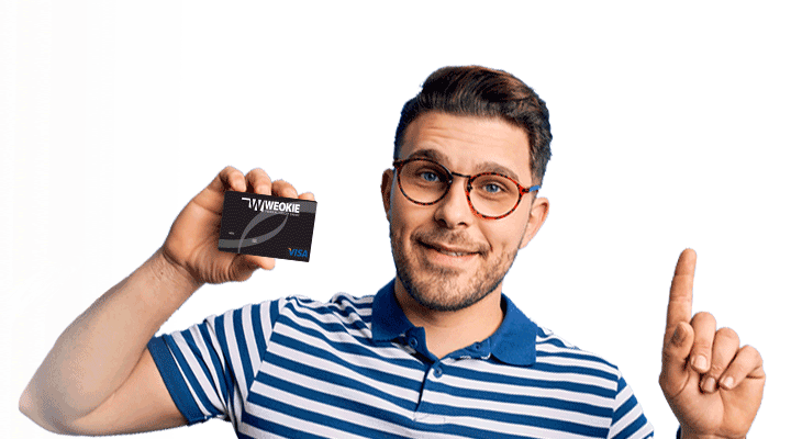 Young-Man-holding-WEOKIE-debit-card-with-finger-in-air