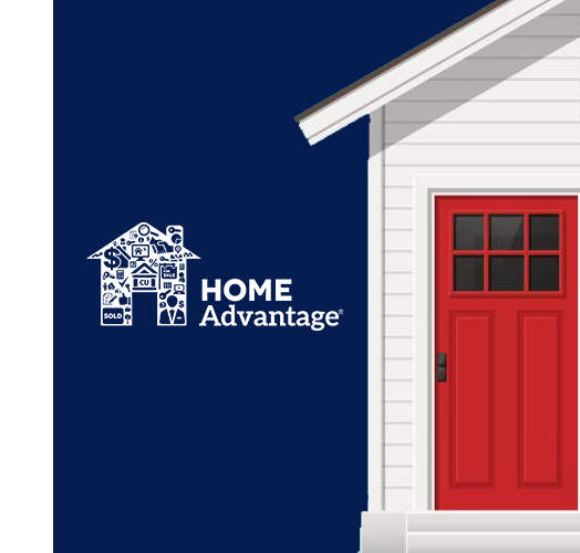 Home with red front door and WEOKIE's HomeAdvantage™ Mortgage Program logo
