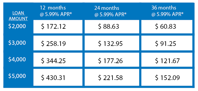 winter personal loan payment chart