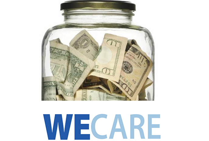 We Care Jar full of dollar bills